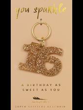 Lucky Feather Glitter Sweet 16 Keychain