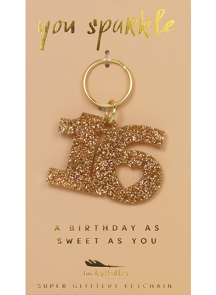 Lucky Feather Glitter Sweet 16 Keychain