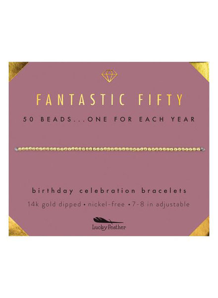 Lucky Feather Milestone Birthday 'Fantastic Fifty' Bracelet