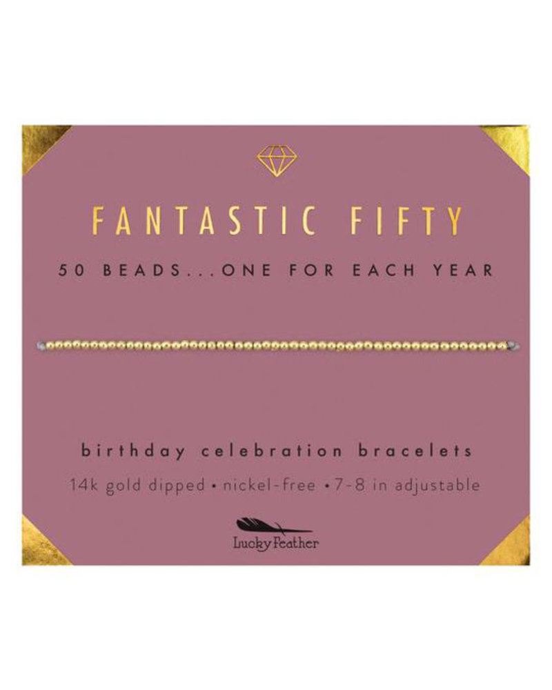 Lucky Feather Lucky Feather Milestone Birthday 'Fantastic Fifty' Bracelet