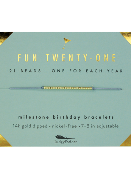 Lucky Feather Milestone Birthday 'Fun Twenty-One' Bracelet
