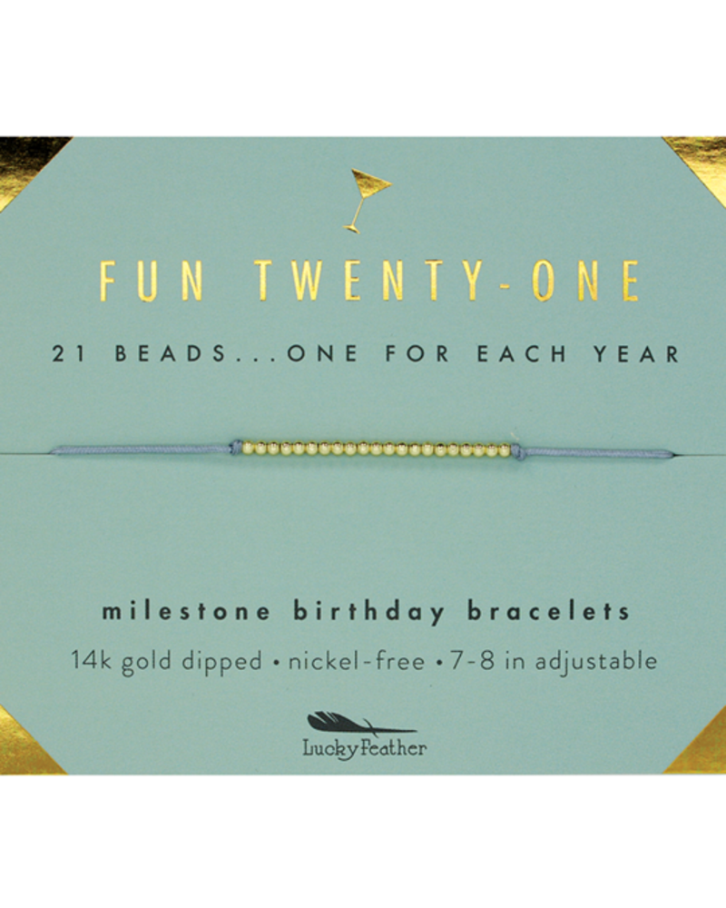 Lucky Feather Lucky Feather Milestone Birthday 'Fun Twenty-One' Bracelet