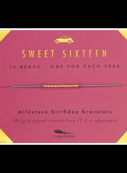 Lucky Feather Milestone Birthday 'Sweet Sixteen' Bracelet