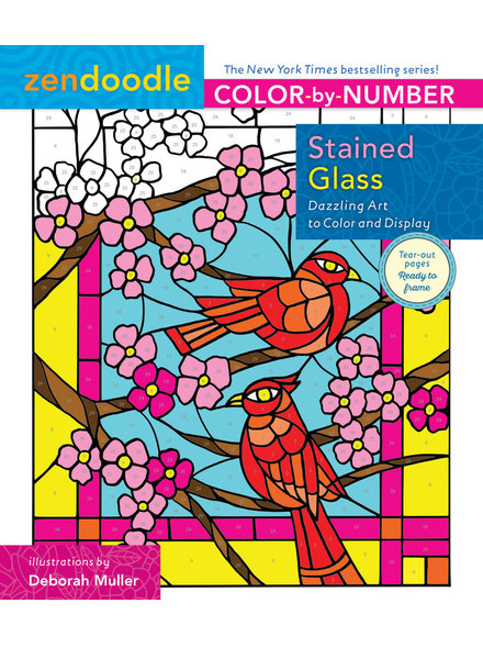 Macmillan Publishing Zendoodle Color-by-Number: Stained Glass Coloring Book