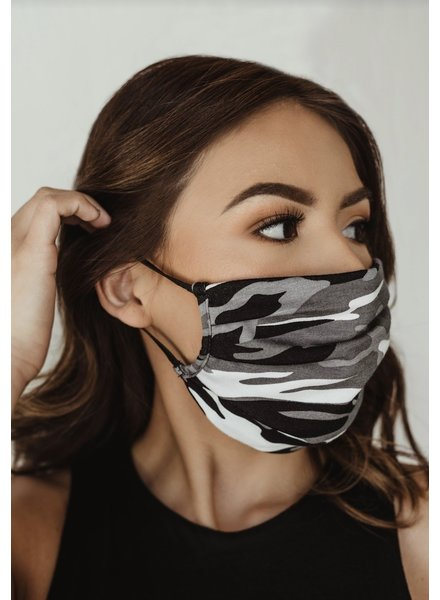 Veronica M Adult Grey Camo Face Mask
