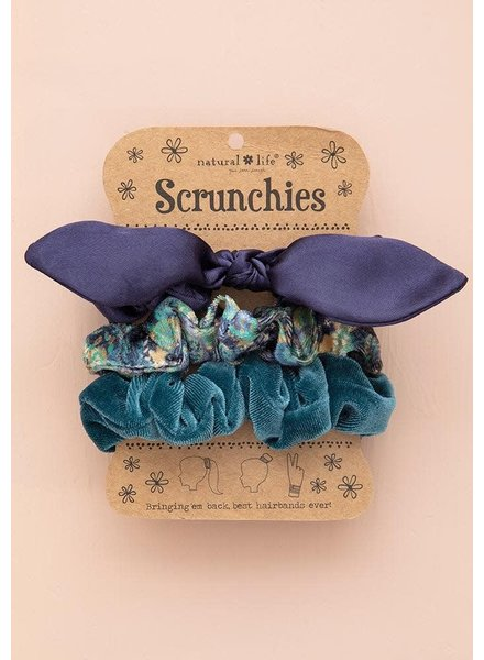 Natural Life Navy Bow Scrunchies (Set of 3)