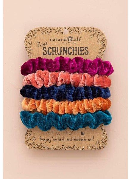 Natural Life Velvet Skinny Brights Scrunchies (Set of 5)