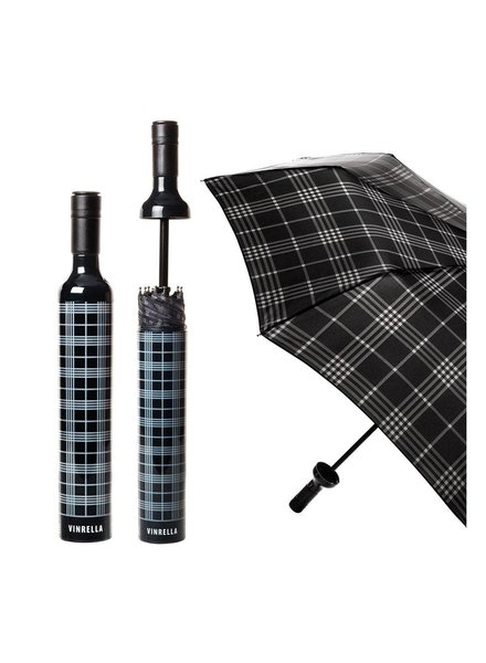 Vinrella Black Plaid Wine Bottle Umbrella