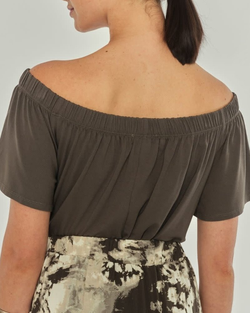 Apricot Apricot Khaki 'Hanging Around' Off Shoulder Top
