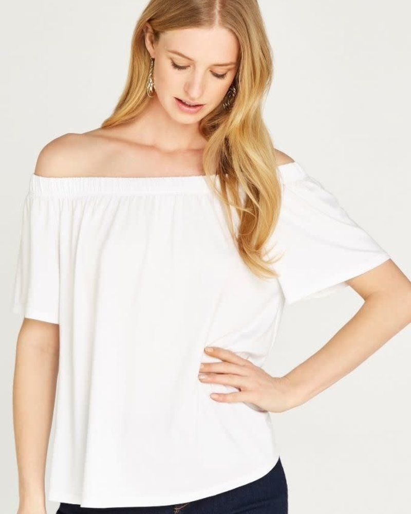 Apricot Apricot White 'Hanging Around' Off Shoulder Top **FINAL SALE**