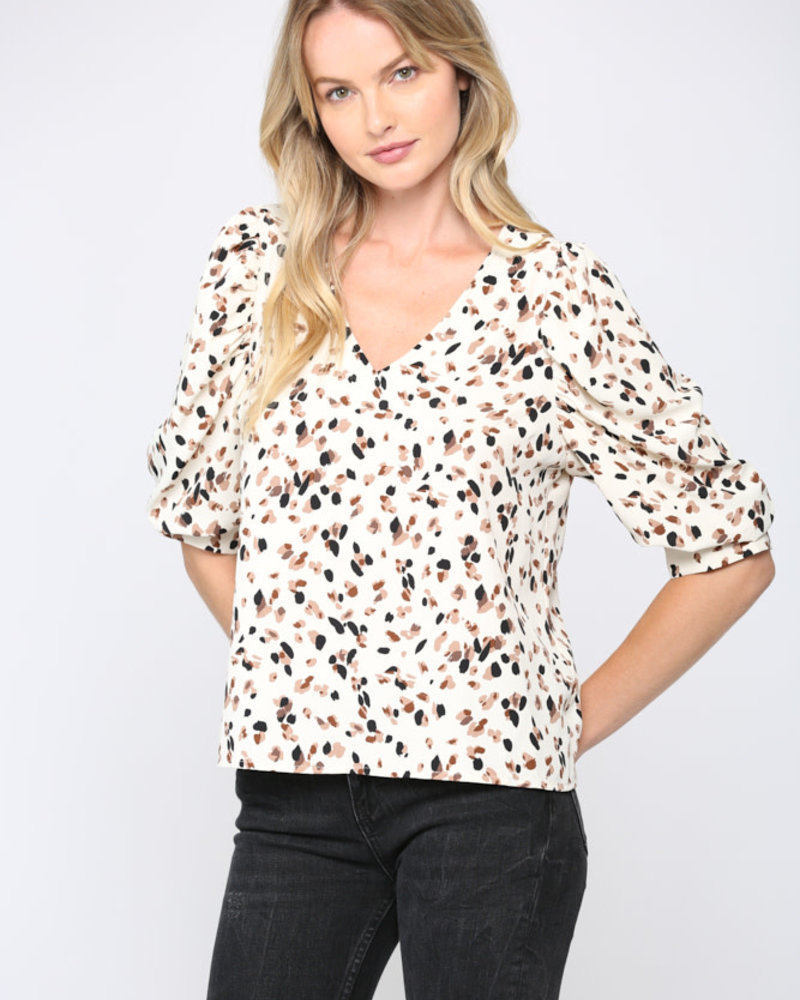 Fate by LFD Fate 'All Dotted Out' Puff Sleeve Top
