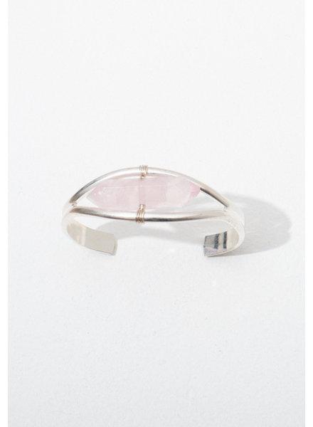 Larissa Loden Rose Quartz 'Crystal Cuff' Bracelet in Silver