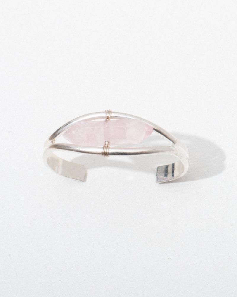 Larissa Loden Larissa Loden Silver Rose Quartz 'Crystal Cuff' Bracelet in Silver