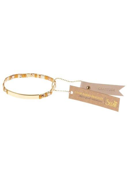 Scout Curated Wears Good Karma Miyuki Bracelet - Gratitude in Amber & Gold