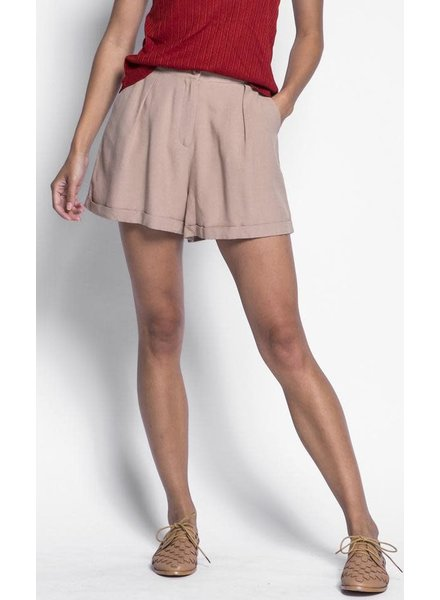 Pink Martini Collection Beige 'Holly' Cuffed Shorts **FINAL SALE**