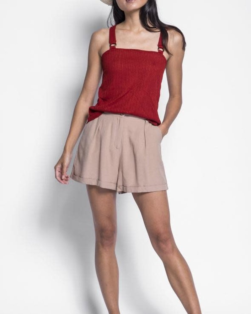 Pink Martini Collection Pink Martini Beige 'Holly' Cuffed Shorts **FINAL SALE**