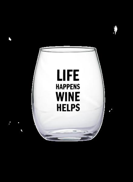 Snark City 'Life Happens Wine Helps' Wine Glass