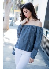 THML 'Denim Daze' Off Shoulder Top (Small) **FINAL SALE**