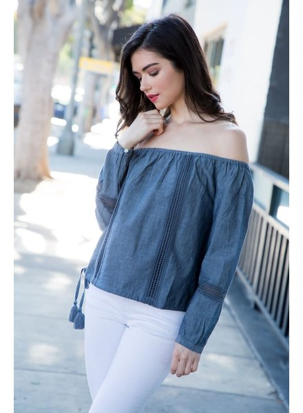 THML 'Denim Daze' Off Shoulder Top
