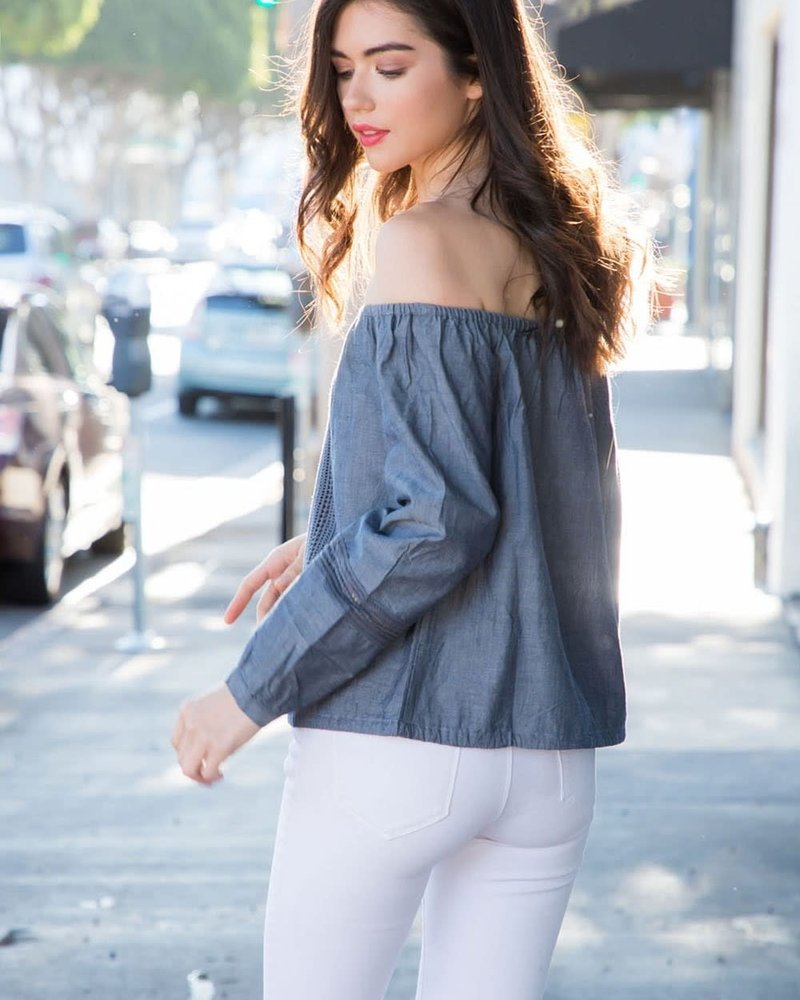 THML THML 'Denim Daze' Off Shoulder Top
