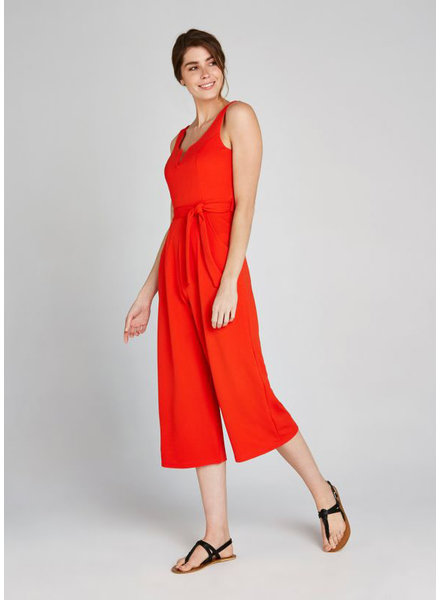 Apricot Tomato Red '2 Of A Kind' V-Neck Jumpsuit