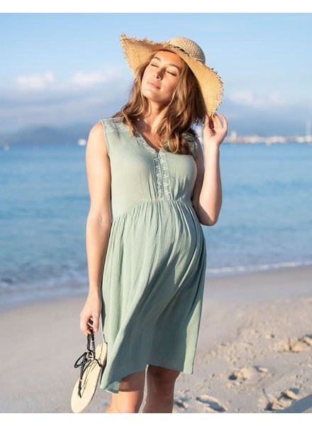 Seraphine Maternity Sage 'Nanette' Embroidered Nursing Sundress
