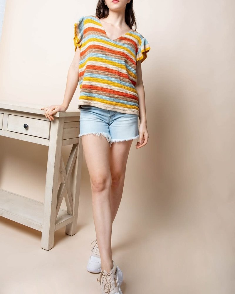 THML THML 'Cotton Candy' Flutter Sleeve Knit Top