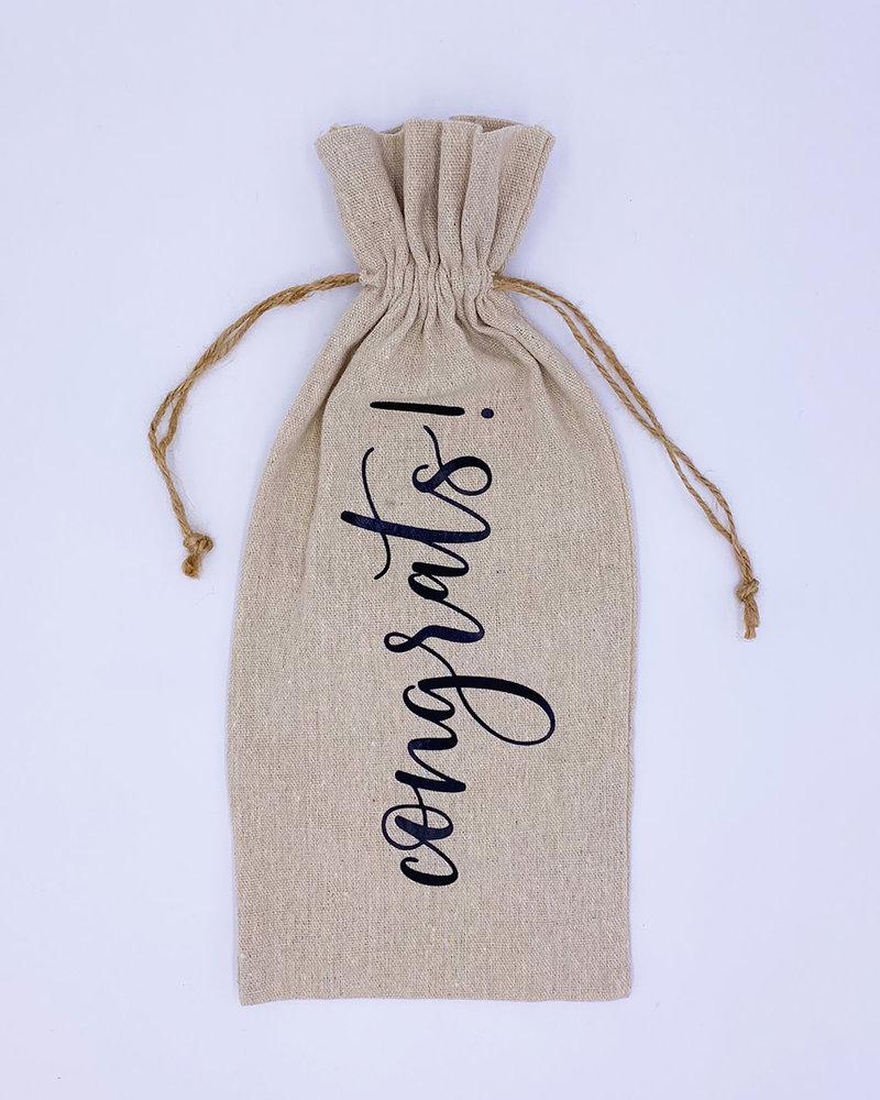 Meg Made Art Meg Made Art 'Congrats' Wine Bag