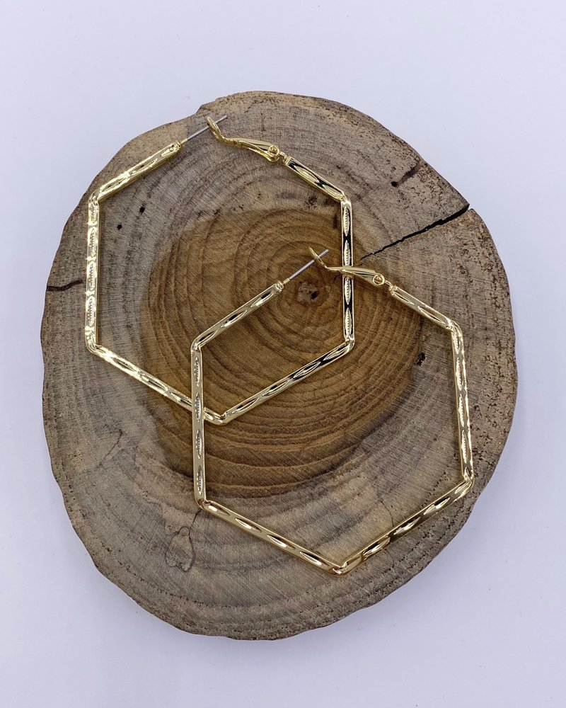Must Have Must Have Brass Earrings | Hexagon Hoops