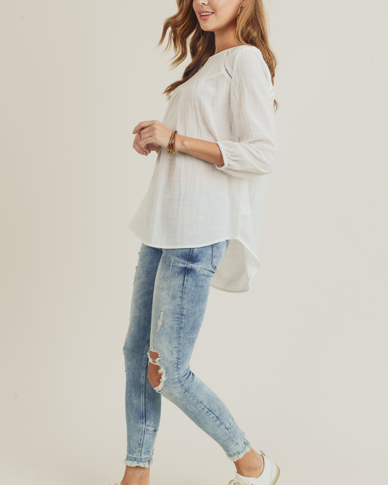 Doe & Rae Doe & Rae 'Evenly Yoked' Embroidered Top