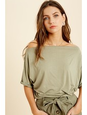 Wishlist Olive 'Let's Hang Sometime' Off Shoulder Top