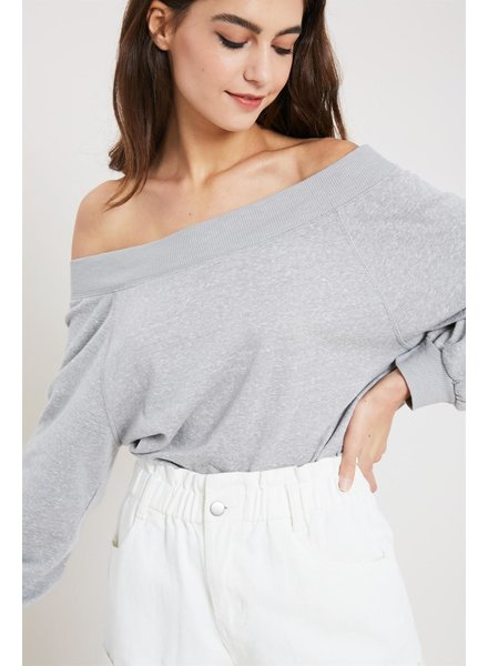 Wishlist 'Just A Hint Of Skin' Marled Off Shoulder Sweatshirt
