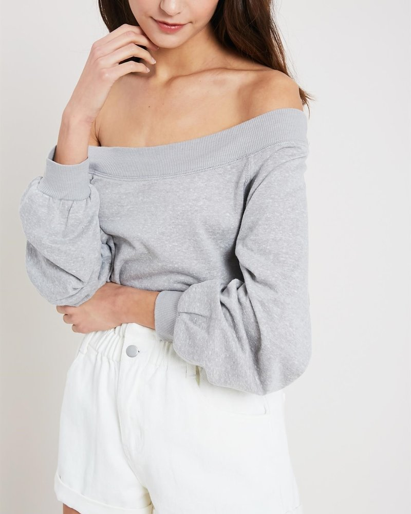 Wishlist Wishlist 'Just A Hint Of Skin' Marled Off Shoulder Sweatshirt
