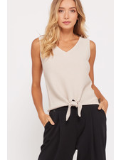 Wishlist 'Get Out Of Your Shell' Ribbed Front Tie Top