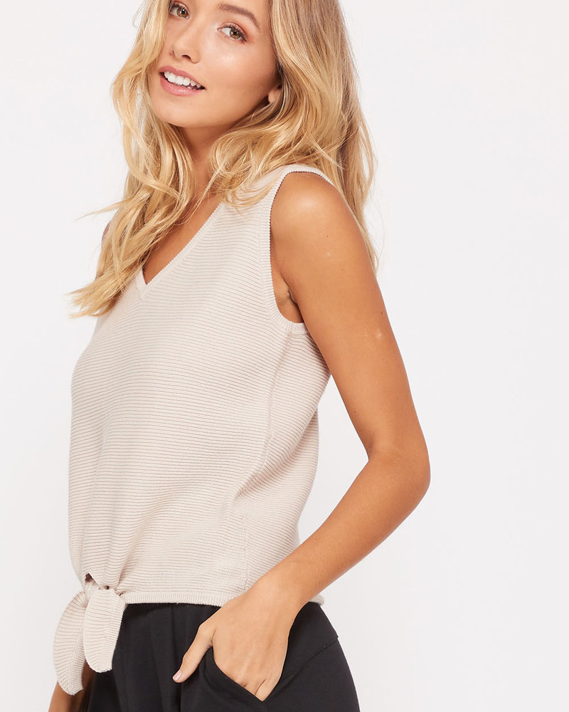 Wishlist Wishlist 'Get Out Of Your Shell' Ribbed Front Tie Top (Small) **FINAL SALE**
