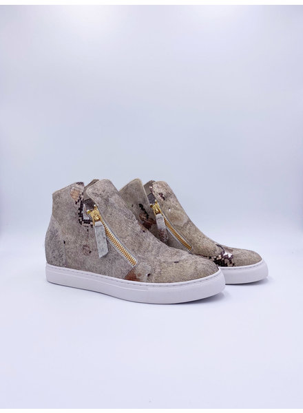 All Black Gold Metallic Snake Fur Top & Zip Sneaker