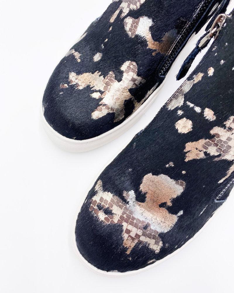 All Black All Black Fur Top & Zip Sneaker in Black Metallic Snake