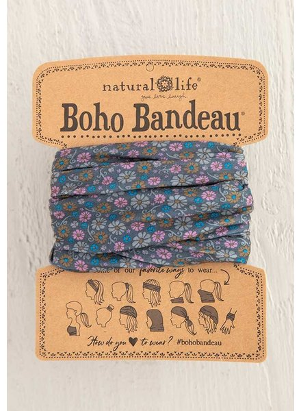 Natural Life Boho Bandeau in Grey Daisy Floral