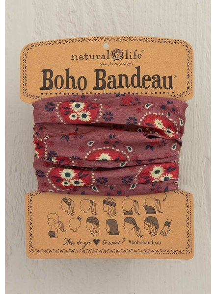 Natural Life Boho Bandeau in Red Cream Floral