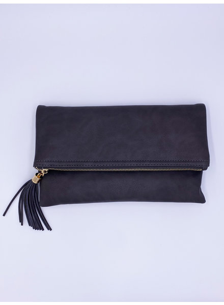 Belle Up Foldover Tassel Zip Clutch (More Colors)