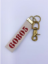 Marshes, Fields & Hills by Rustic Marlin Zip Code Canvas Keychain | 60805