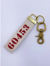 Marshes, Fields & Hills by Rustic Marlin Zip Code Canvas Keychain | 60453 in Red