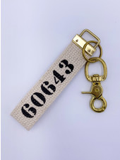 Rustic Marlin Zip Code Canvas Keychain   60643 (More Colors)