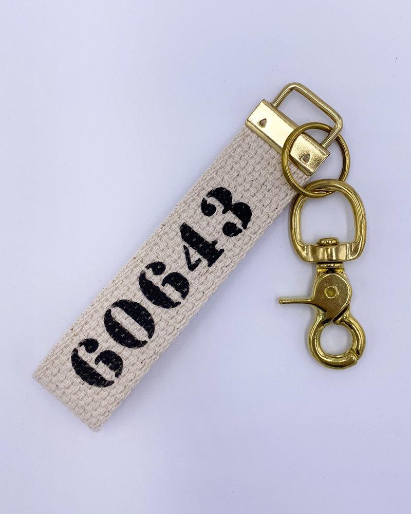 Rustic Marlin Rustic Marlin Zip Code Canvas Keychain | 60643