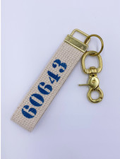 Marshes, Fields & Hills by Rustic Marlin Zip Code Canvas Keychain | 60643 (More Colors)