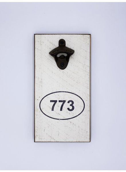 Marshes, Fields & Hills by Rustic Marlin Area Code Personalized Bottle Opener   773
