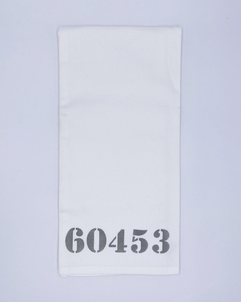 Marshes, Fields & Hills by Rustic Marlin Marshes Fields & Hills Personalized Zip Code Tea Towel   60453