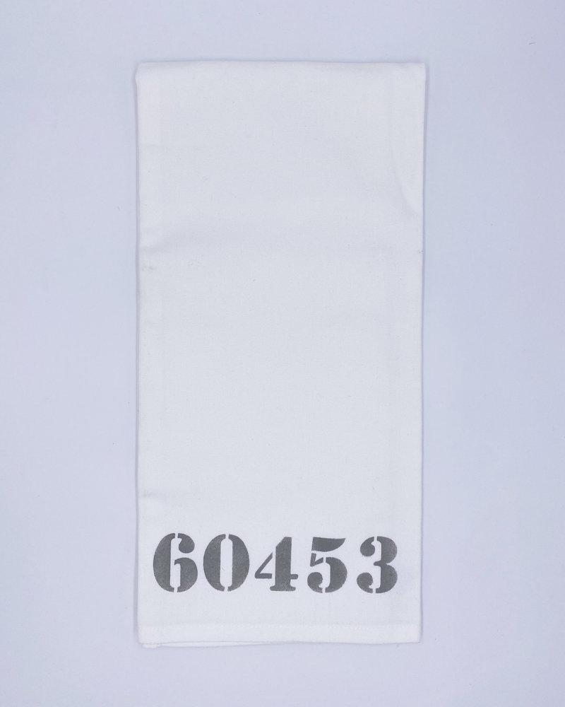 Rustic Marlin Marshes Fields & Hills Personalized Zip Code Tea Towel | 60453