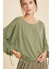 Wishlist Olive 'Ruched & Ready' Dolman Sleeve Top