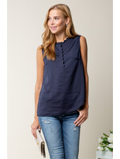 Doe & Rae Navy 'The Sweetest Rose'  Sleeveless Top